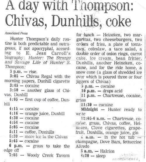 Dr Gonzo:  Chivas, Dunhills and coke