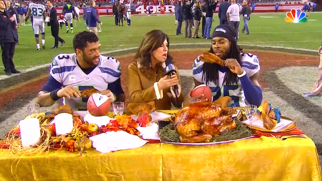 Richard Sherman ate turkey on the 49ers logo, then called fans 'vulgar'