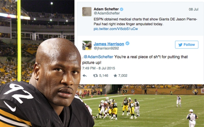 James Harrison vs Adam Schefter over Jason Pierre-Paul Injury